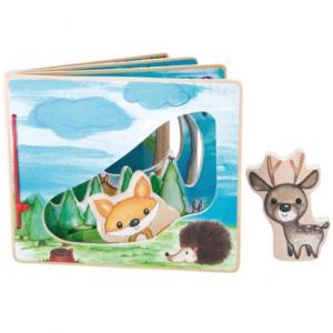 Houten baby boekjes Plaatjes boek - in het bos - interactief - FSC® - Baby speelgoed vanaf 1 jaar beste voel- en knisperboekje
